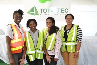 The four young women being trained in the Third Program – Safety & Operational Oilfield Training Program.