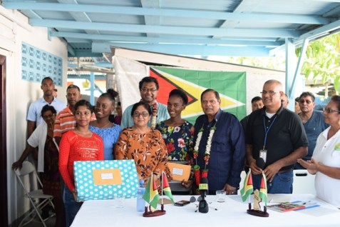 The awardees with Prime Minister Moses Nagamootoo, First Lady Sita Nagamootoo and Minister of Public Security, Khemraj Ramjattan.