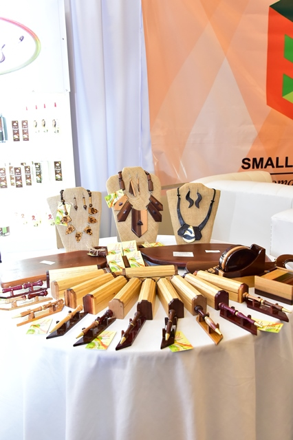 Handcrafted pens and jewellery made from local Guyanese woods on display at the GuyTIE event this morning at the Marriott Hotel.
