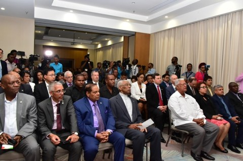 From left: Minister of State, Mr. Joseph Harmon, Minister of Business, Mr. Dominic Gaskin, Prime Minister Moses Nagamootoo, President David Granger and other Ministers of Government and invitees at the launch of the Guyana Trade and Investment Exhibition (GuyTIE) this morning.
