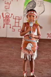 Four-year old Anna Vieira, of St. Ignatius Village recites a poem at the opening of the Rupununi Regional Heritage celebrations 2018.