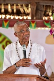 President David Granger addresses residents of the Rupununi at the opening of the Rupununi Regional Heritage celebrations 2018.