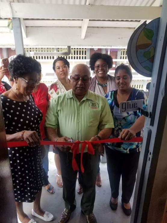 Commissioning the kitchen at Parika Nursery School. In the photo are Regional Executive Officer (REO) Denis Jaikaran and Master Trainer, Myrtle Caldera