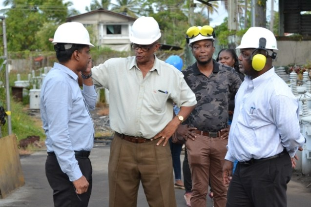 GPL's CEO, Albert Gordon and Divisional Director, Bharat Harjon taken on a tour of the Anna Regina power station by Regional Manager Nigel Benfield and Engineer, Michael Haley.