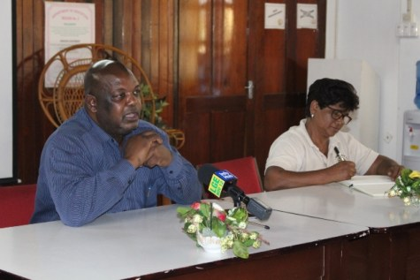 Guyana Power and Light Incorporated (GPL Inc.), Chief Executive Officer, Albert Gordon addressing the councillors seated next to Vice Chairman, Juliet Coonjah.
