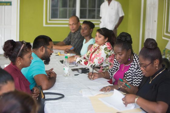Minister Patterson- Yearwood with residents at Region Three RDC.