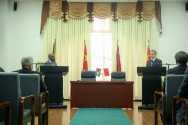 Minister of Foreign Affairs, Carl Greenidge and China's Minister of Foreign Affairs, Wang Yi