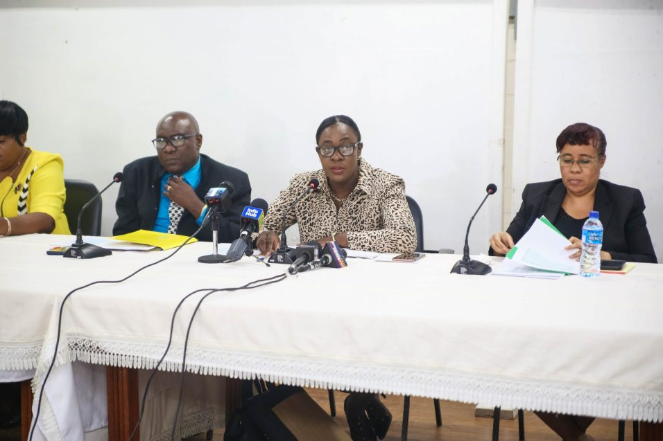 Minister of Education, Nicolette Henry and other officials of the Ministry of Education at the Press Briefing