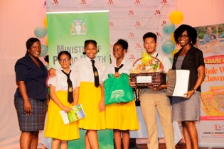 The Winning Team, Brickdam Secondary School showing off their prizes.