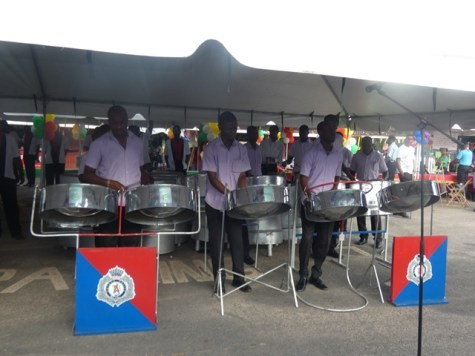 Members of the Guyana Force Military Band performing at the 160th-anniversary concert in Linden.