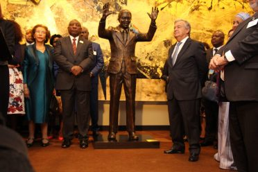 President of the Republic of South Africa, Mr. Cyril Ramaphosa, and United Nations Secretary-General António Guterres, stand alongside the statue of Nelson Mandela