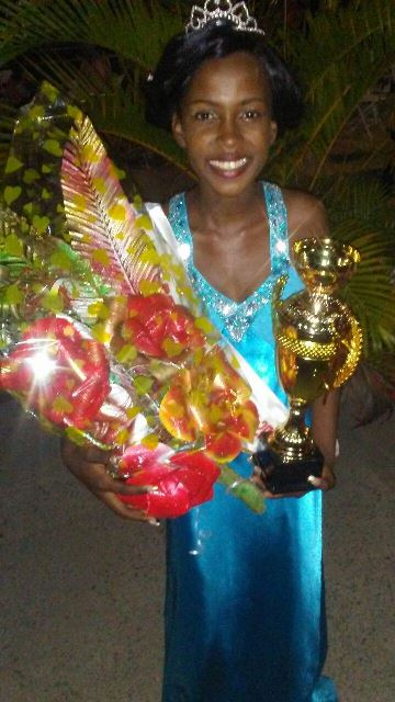 Cort after being crowned Miss East Bank Berbice.