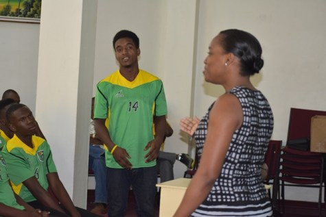 CANU's Legal Officer Konya Sandiford Interacts With The Players.