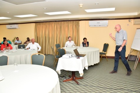 Team Leader, Mr. Jonathan McCue makes his initial presentation.
