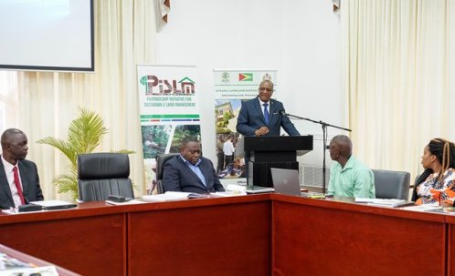 Minister of State, Mr. Joseph Harmon addresses participants this morning at the opening ceremony for capacity building workshop for Negotiating within the Organs of the United Nations Convention to Combat Desertification (UNCCD).