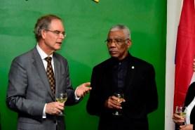 President Granger listens attentively as the new Non- Resident Ambassador of The Netherlands to Guyana, Mr. Jacob Rijkert Frederiks.