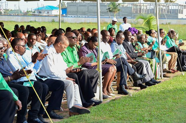 Ministers of Government and other representatives at PNCR's 61st Anniversary celebration.
