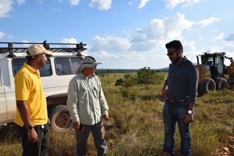 Hinterland Engineer, Jeffrey Walcott [right] and Region Nine Engineer, Rafael Lewis [left] assessing the roadworks.
