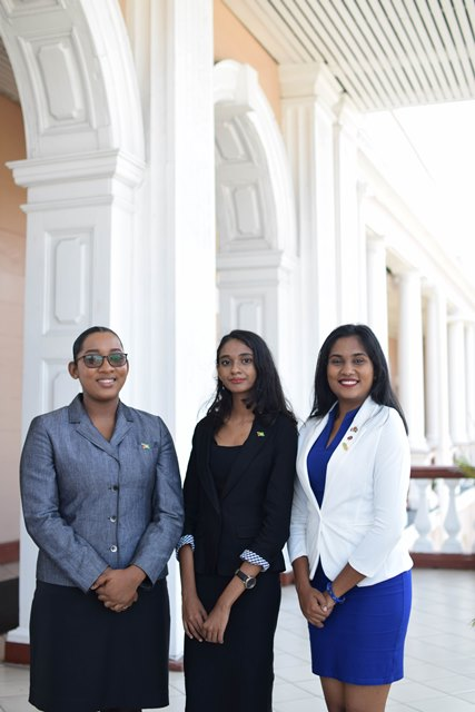 [From left to right] Prime Minister for a day - Delecia George, President for a day - Renuka Persaud, and Canadian High Commissioner for a day - Sara Mohan.