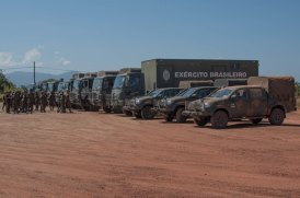 The second batch of the Brazilian vehicles, which arrived in Lethem this morning.