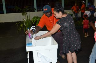 Handwashing being promoted by the Ministry of Communities as part of its green lifestyle and community display at the Green Guyana Expo