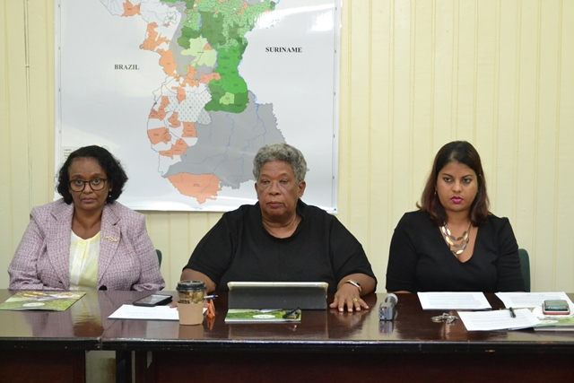 (Feature image) Pictured are Chairperson of the Guyana Forestry Commission's (GFC) Board, Joycelyn Dow [center], Head of Planning and Development of the Guyana Forestry Commission (GFC), Pradeepa Bholanath [right] and Administrator to the Ministry of Natural Resources, Beverley Alert [left].
