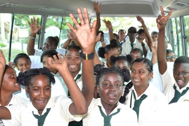 Students enjoying a ride in the 29th David 'G' School Bus.