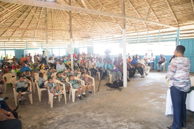 Minister of Public Health, Volda Lawrence addressing residents of Orealla-Siparuta.