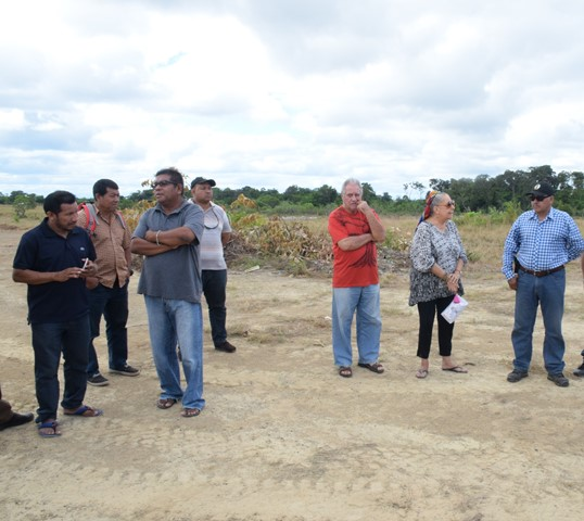 Minister of Indigenous Peoples' Affairs, Sydney Allicock and a team of officials at the work site of the Hinterland Green Enterprise Development Centre.