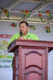 Minister of Indigenous Peoples' Affairs and Fourth Vice President, Sydney Allicock addressing the audience at the opening of the Regional Agriculture Commercial Exhibition (RACE) at Mabaruma.