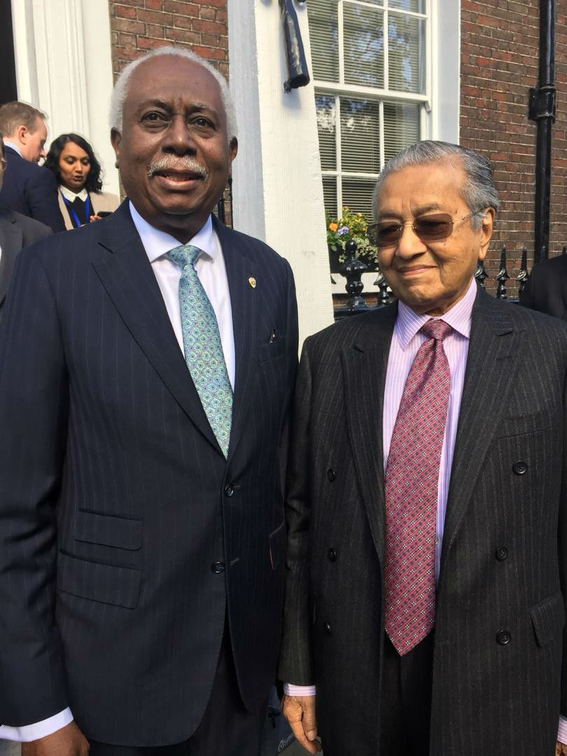 High Commissioner of the Co-operative Republic of Guyana to the United Kingdom, His Excellency Mr. Frederick Hamley Case with Prime Minister of Malaysia, the Honourable Mr. Mahathir Mohamad