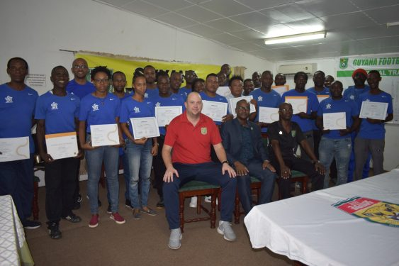 Group shot of recipients of the CONCACAF D License and FIFA goal keeping course