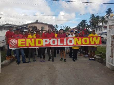 Rotarians of the New Amsterdam Rotary Club at the conclusion of the Polio awareness walk held on Sunday morning in Berbice.