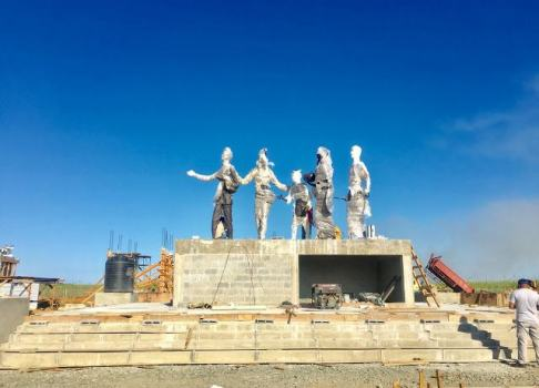 The bronze structure mounted as construction works continue on the Monument.