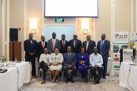 Minister of State, Joseph Harmon (centre) along with officials and representatives at the 3rd Session of PISLM.