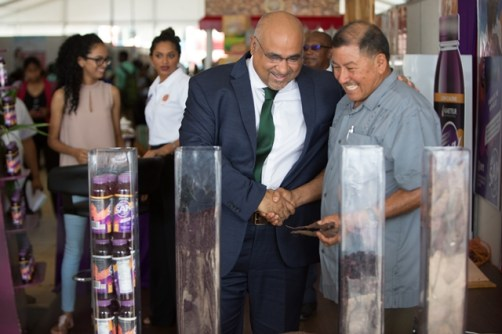 Chairman of the Institute of Applied Science and Technology (IAST), Dr. Suresh Narine, and Minister of Indigenous Peoples' Affairs, Sydney Allicock, share a light moment following the launch of SAK.