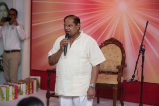 Prime Minister Moses Nagamootoo delivering remarks at the Raj Yoga Center on Sunday night