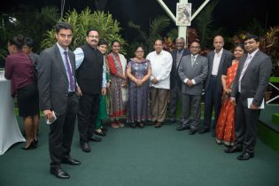The Indian delegation share a photo op with Prime Minister and his wife Mrs. Sita Nagamootoo at a welcome reception for participants at the 12th biennial CAPAM Conference being held in Guyana from October 22-24
