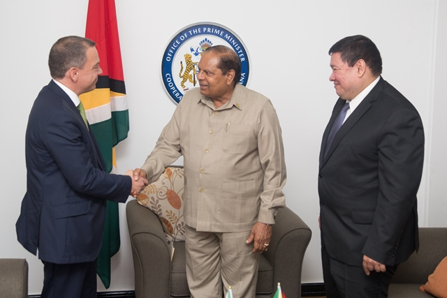 [In the photo, from left] Executive Director of National Agency for Industrial Safety and Environmental Protection (ASEA) in Mexico, Carlos de Regules, Prime Minister Moses Nagamootoo and Mexican Ambassador to Guyana, Ivan Robero Sierra Medel.