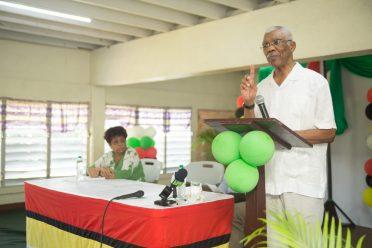 President David Granger addressing the residents