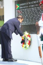 Prime Minister, Moses Nagamootoo laying his wreath at the 42nd Anniversary of the Cubana Air Tragedy