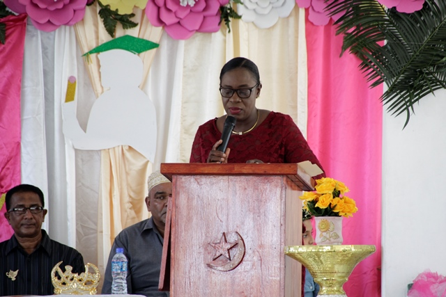 Minister of Education, Hon. Nicolette Henry delivering the feature address.