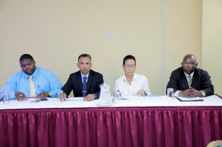 (From Left) Superintendent Kurleigh Simon, Deputy Head of CANU, Mr. Lesley Ramlall, UNICEF Education Specialist, Ms. Audrey Rodrigues and ACEO (Primary), Mr. Owen Pollard.