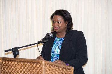Tamara Khan, Legal Advisor to the Hon. Moses Nagamootoo who brought remarks on behalf of the Prime Minister at the Media Summit
