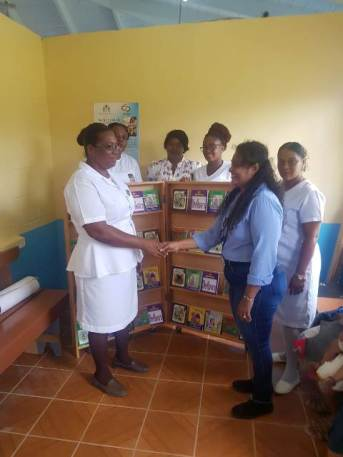 The bookshelf that was handed over to the Kwakwani Health Centre.