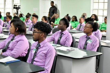 A section of the cadets at the Bertram Collins College of the Public Service (BCCPS) this morning.