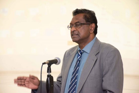 Public Security Minister, Khemraj Ramjattan addressing police ranks at the Noise Management Training Course, at the Officer Training Center, Eve Leary