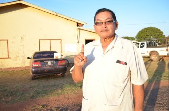 Regional Chairman Region Nine, Brain Allicock at the Wadapna Community Centre shortly after he casted his ballot.