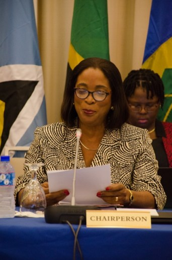 Chair of the 47th COTED meeting and Barbados' Minister in the Ministry of Foreign Trade Sandra Husbands.
