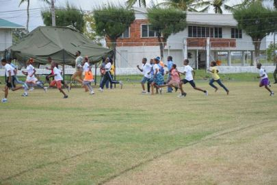 Director of Sport, Christopher Jones participating in a ceremonial race with the students of the various special schools.